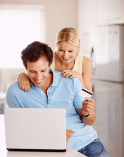 couple and a computer