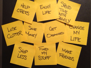 New Years Resolution sticky notes